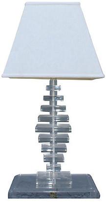 One Kings Lane Vintage Mid-Century Modern Stacked Lucite Lamp - Something Vintage