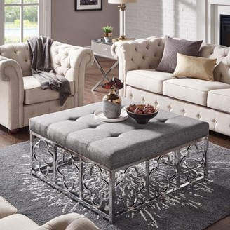 Weston Home Libby Dimple Tufted Cushion Chrome Quatrefoil Base Square Ottoman Coffee Table, Multiple Colors