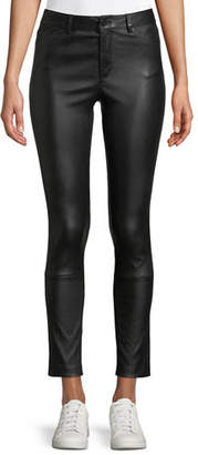 Theory Five-Pocket Skinny Bristol Leather Cropped Pants