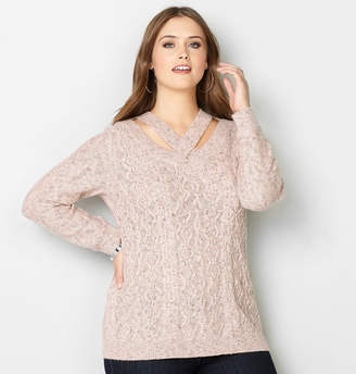 Avenue Criss Cross Cableknit Pullover