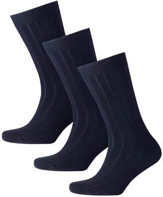 Charles Tyrwhitt Navy Wool Rich 3 Pack Socks Size Large