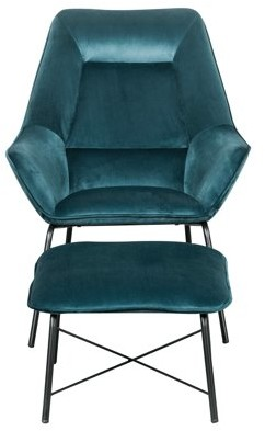 HomeFare Modern Velvet Chair and Ottoman Set in Deep Aqua Blue