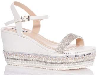ab2687b8a5f Dorothy Perkins Womens  Quiz White Diamante Wedge Sandals