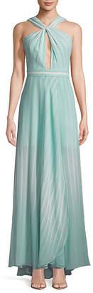 Halston Striped Twist-Front Floor-Length Gown