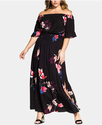b4254bba1cb4b City Chic Trendy Plus Size Printed Off-The-Shoulder Maxi Dress