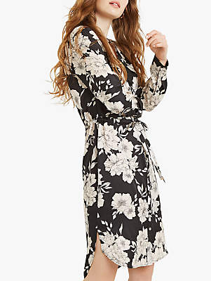 Oasis Bold Bloom Print Shirt Dress, Multi Black