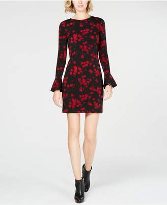 Michael Kors Printed Flounce-Sleeve Shift Dress, In Regular & Petite Sizes