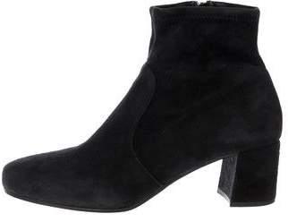 Prada Suede Round-Toe Ankle Boots