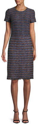 St. John Short-Sleeve Ombre Ribbon Tweed Knit Dress