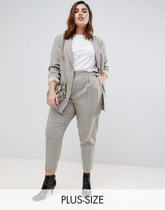 New Look Plus Curve check pull on pant in brown pattern