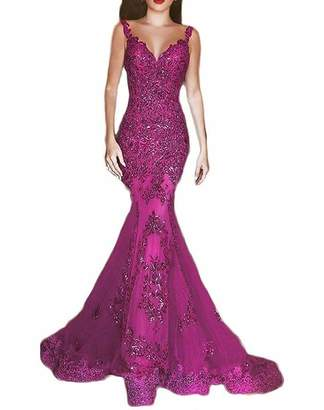 ASBridal Sexy Sequins Mermaid Evening Dresses Long Lace Sheer Back Formal Gowns US