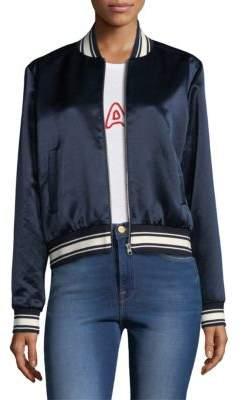Frame Satin Varsity Bomber Jacket
