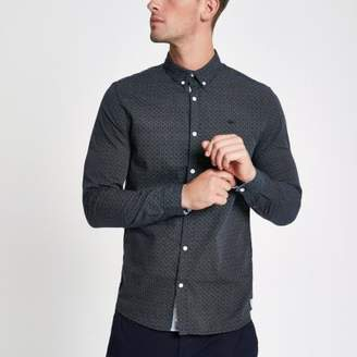 River Island Navy textured long sleeve shirt