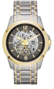 Fossil Relic by Men's Cameron Automatic Stainless Steel Silver & Gold Two-Tone Skeleton Watch