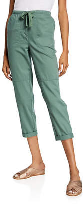 e2abfd199d8cd2 Eileen Fisher Petite Soft Organic Cotton Twill Drawstring Cropped Pants