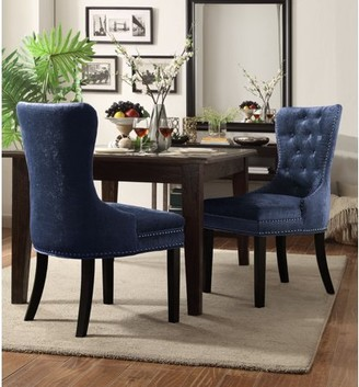 Chic Home Elizabeth Velvet Modern Contemporary Button Tufted Armless with Silver Nail head Trim Tapered Solid Birch Legs Dining Chair, Blue