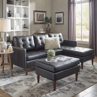 Weston Home Gilly Button Tufted Black Leather Gel Removable Cushion Loveseat and Single Chaise Sectional