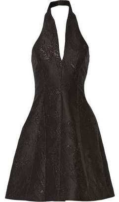 Halston Metallic Jacquard Halterneck Dress