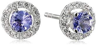 Sterling Silver Tanzanite and Created White Sapphire Halo Stud Earrings