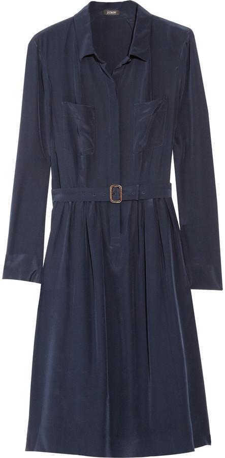 J.Crew Blythe silk crepe de chine shirt dress
