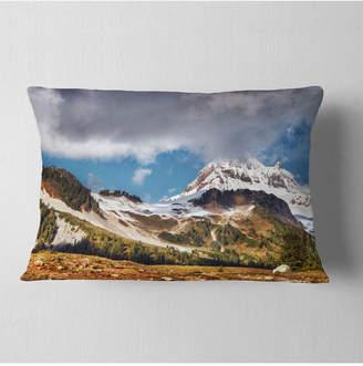 """Whistler Designart Mountain British Columbia Throw Pillow - 12"""" X 20"""""""