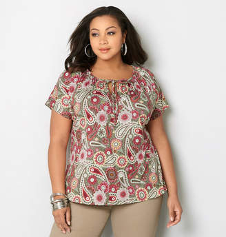 Avenue Paisley Peasant Top