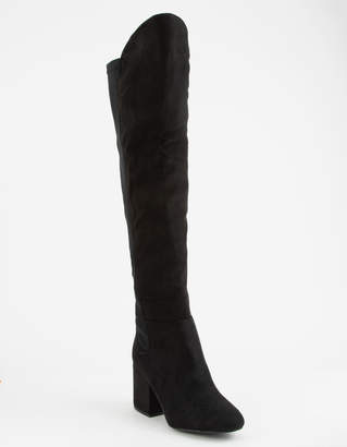 Wild Diva Faux Suede Stretch Black Womens Over The Knee Boots