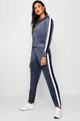 boohoo Contrast Stripe Panel Track Pants