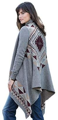 Love By Design Junior's Long Sleeve Tribal Jacquard Open Cardigan