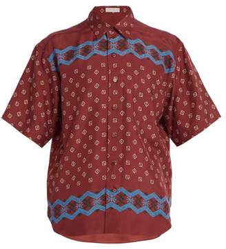 Etro Geometric Print Silk Shirt - Mens - Red Multi