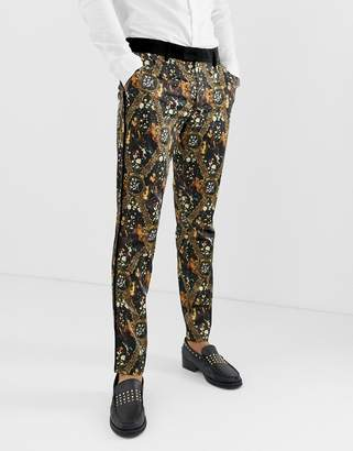 Asos Edition EDITION skinny suit pants in baroque printed sateen