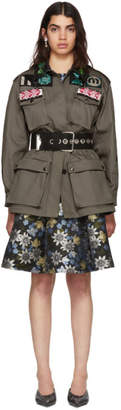 Miu Miu Green Short Four Pocket Patches Jacket
