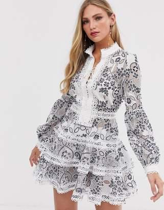 Santorini Bronx And Banco Bronx & Banco crochet detail mini dress