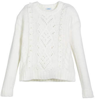 Mayoral Rhinestone-Trim Cable-Knit Sweater, Size 8-16