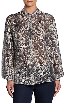 Rachel Zoe Miley Printed Silk Blouse