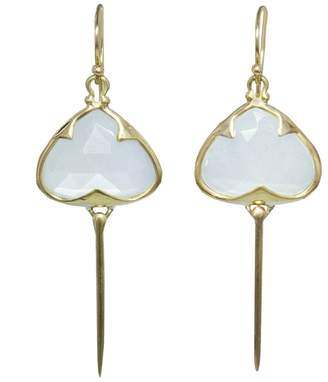 Rachel Atherley Rainbow Moonstone Stingray Earrings - Yellow Gold