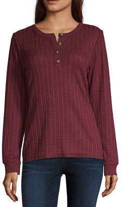 UNIONBAY Finland Cable Greta Henley Womens Henley Neck Long Sleeve Henley Shirt-Juniors