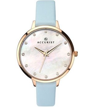 Accurist Ladies Analogue Watch withホワイト母のパールダイヤルとブルーストラップ8155