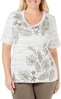 Karen Scott Plus Embroidered Cotton Top