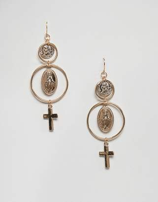 New Look Coin And Cross Earrings