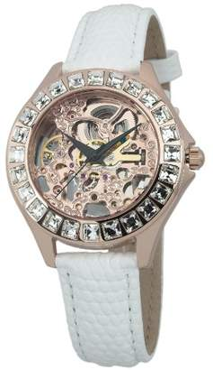 Burgmeister Merida Women's Automatic Watch with Pink Dial Analogue Display and White Leather Strap BM520-306