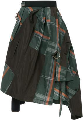 Kolor asymmetric checked skirt