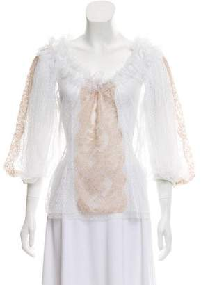 Dolce & Gabbana Sheer Lace Blouse w/ Tags