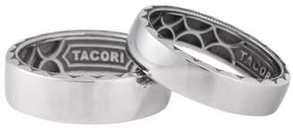 Tacori PT950 Platinum & Stainless Steel Scultped Crecsent Mens Wedding Band Set Ring Size 10
