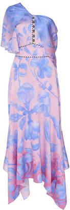 Peter Pilotto One-Shoulder Floral-Print Silk-Blend Midi Dress