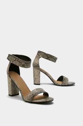 f54184468c2 Nasty Gal Velcor Mid Block Snake Print Heels