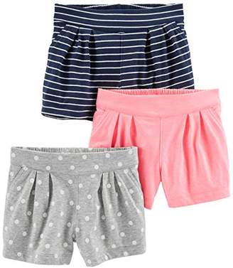 Carter's Simple Joys by Baby Girls' Toddler 3-Pack Knit Shorts