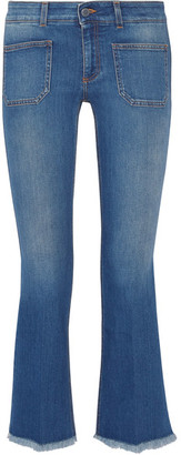 Stella McCartney - Cropped Frayed Low-rise Flared Jeans - Mid denim $375 thestylecure.com