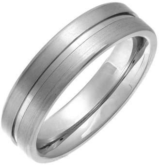 Theia Titanium Flat Court Matt Grooved 6mm Ring - Size X