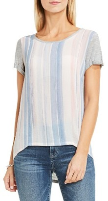 Women's Two By Vince Camuto Paintwash Stripe Mixed Media Tee $59 thestylecure.com